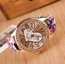 Womens Watch Love Heart Leather Crystal Analog Quartz Mens Wrist Watch Gift