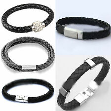Unisex Leather Wrap Wristband Cuff Magnetic Buckle Anchor Charm Bracelet Bangle