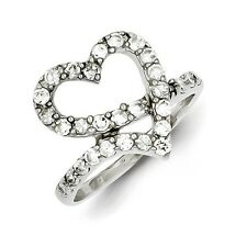 Sterling Silver Open Heart Ring With Clear CZ Size 6 to 8
