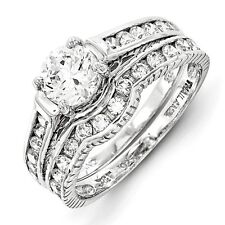 Sterling Silver 2-Piece Round Cut Clear CZ Wedding Set Ring 3.39 gr Size 6 to 8