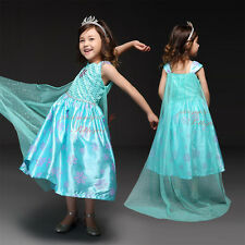 Girls Elsa Frozen Dress With Cape Snow Flake Anna Princess Fancy Party Costume