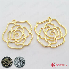 10PCS 40MM Zinc Alloy Large Roses Pendants Jewelry Findings Accessories 29276