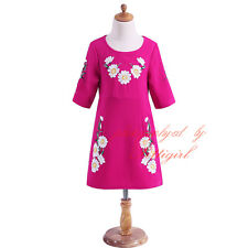 Toddler Girls Embroidery Flower Dress Kids Princess Wedding Party Daisy Clothes