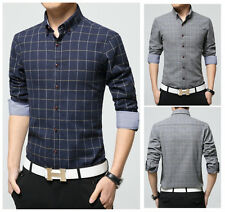 M-4XL Men Spring Checks casual label Shirt Man Long Sleeve Flannel dress shirt