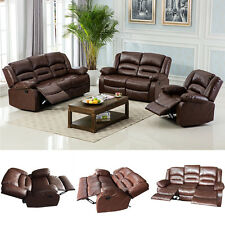 Motion Sofa Loveseat Recliner Living Room Bonded Leather Espresso