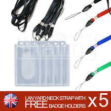 ID Card Name Badge Holder Combo Rigid Plastic with Colour Lanyard Neck Strap