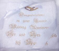 Personalised Embroidered Wedding Anniversary Hand Bath Towels Sheets Cotton Gift