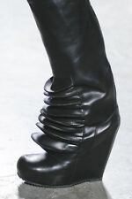 $2625 RICK OWENS BRANCUSI RUNWAY THIGH HIGH SEXY TALL WEDGE BOOTS EU 36