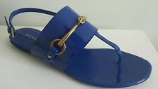 GUCCI URSULA RUNWAY AMAZING BLUE DEEP ZAFFIRO GOLD HORSEBIT THONGS EU 38 US 8