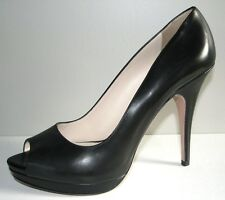 PRADA Black Leather Classic Open Toe Platform Sexy Pumps Shoes EU 40 US 9