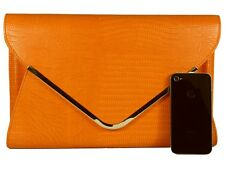 Orange Snakeskin Leather Style Large Clutch Bag Evening Snake Skin Handbag Purse