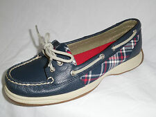 Sperry Top-Sider Womens LAGUNA Navy/Red Plaid Leather Boat Shoe 9 or 9.5 NEW