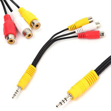 3.5mm Mini Aux Male Stereo Right to 3 RCA Female Audio Video Adapter Cable Lot