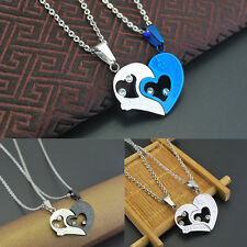 His and Hers Stainless Steel Love Heart Lover Couple Pendant Necklace Sweet Gift