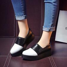 Fashion Ladies Leather Platform Med-heels Pull on Dress Party Casual Pumps shoes