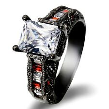 14 kt black gold filled white zircon & ruby Jewelry  Wedding Rings size 6-10