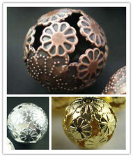 20Pcs 20MM Ball Silver/Gold/Copper Plated Metal Big Flower Bead Spacer