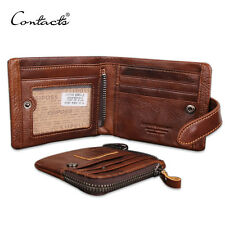 Coin Pocket Credit/ID Card Holder Genuine Leather Men Wallet Bifold Mens Purse