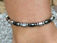 Men's Women Necklace Anklet Bracelet 100% Magnetic Hematite 1Row Strongest Clasp