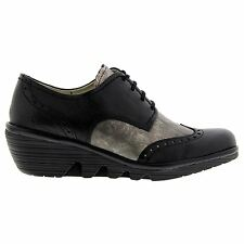 Fly London Palt Mousse Wedge Black Silver Womens Shoes