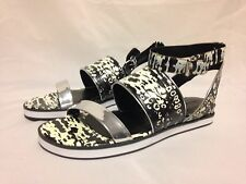 Pour la Victoire Sabina Gladiator Sandal Black/White/Silver Leather New w/ Box