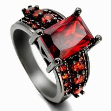 14 kt black gold filled ruby Jewelry  Wedding Rings size 6-10