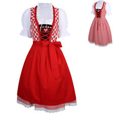 Dirndl Dress German Ethnic 3 PCS Bavarian Oktoberfest Halloween Costume Red S-XL
