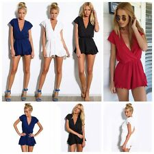 Sexy Women Summer Culotte Flounced V Neck Solid Party Cocktail Short Mini Dress