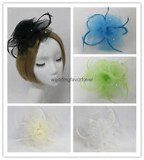 Rose Flower Feather Beak Clip Fascinator Wedding Party Hair Clips Headpiece