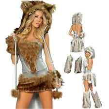 Women Sexy Halloween Wolf Costumes Hot Wild Girl Furry Big Tail Cosplay Dress