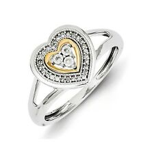 Sterling Silver 14k Plated .08 CT Diamond Heart Ring 2.25 gr Size 6 to 8