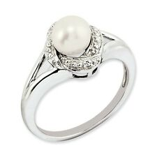 Sterling Silver .01 CT Diamond & FW Cultured Pearl June Birth Ring 2.83 gr
