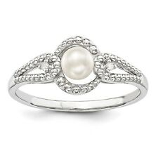 Sterling Silver June Birthstone Ring FW Cultured Pearl & .02 CT Diamond
