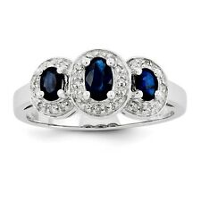 Sterling Silver 3 Stone Oval Sapphire & 0.08 CT Diamond Ring 2.25 gr Size 6 to 8