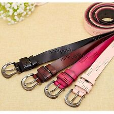 Fashion Lady Women Hollow Simple Wide Leather Belt Pin Buckle Strap Waistband #J