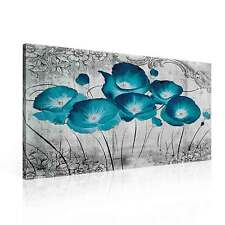 Pattern Floral Flowers Poppy Turquoise CANVAS PRINT ART PICTURE (PP2378DK)