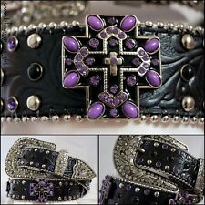 Ladies Black & Purple Embossed Black Genuine Leather Belt Cross Concho #Cowgirl