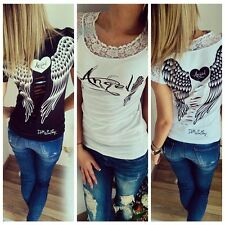 Vogue Women Casual Tops Shirt Angel Wing Print Blouse Back Hollow Tank Lace Top
