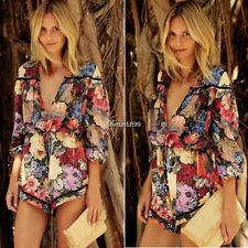 Fashion Women Long Sleeve Floral Print Summer Beach Mini Jumpsuit Romper