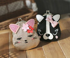 New Fashion Ladies Cute Cat Dog Animal  Hasp Clutch Coin Purse Wallet Mini Bag