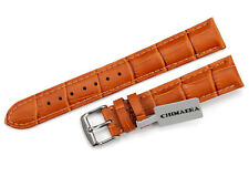 20mm Genuine Leather Watch Band Croco Grain Padded Tang Strap For Women colorful