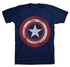 Marvel Captain America Superhero T-Shirt Official Distressed Shield Design Mens
