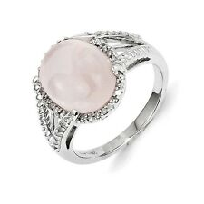 Sterling Silver Rose Quartz & 0.12 CT Diamond Cabochon Ring 4.00 gr Size 6 to 9