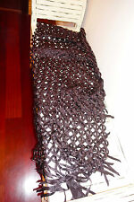 Stunning Bajra 100% Silk Handmade in Nepal Scarf Weave with Beads Bordeaux $695