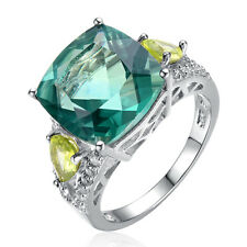 Cocktail Ring- Natural Green Fluorite & Peridot Solid 925 Sterling Silver Ring