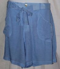 Women's Front Tie Blue Relaxed Linen Style Lined Shorts Plus Sizes 1X-2X-3X