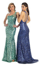 Sexy Elegant  Prom Long One Shoulder Sequins Formal Evening Pageant Dress