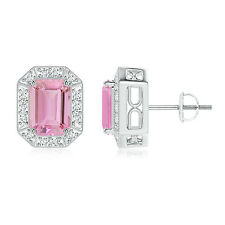 Natural Emerald Cut Pink Tourmaline Diamond Halo Stud Earrings 14k White Gold
