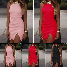 Sexy Women Sleeveless Bandage Short Mini Dress Bodycon Party Cocktail Clubwear O