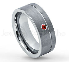 0.07ct Garnet Ring, Brushed Pipe Cut Tungsten Ring, January Birthstone #030